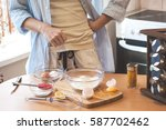 kitchen disaster  bad cooking   ... | Shutterstock . vector #587702462