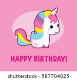 happy birthday cute unicorn | Shutterstock .eps vector #587704025