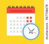 vector calendar and clock icon. ... | Shutterstock .eps vector #587708678