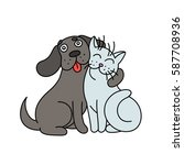 Stock vector cute dog hugs cat vector illustration 587708936