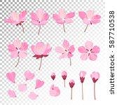 set of beautiful cherry tree... | Shutterstock .eps vector #587710538