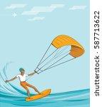 kite surfer on summer ocean  ... | Shutterstock .eps vector #587713622