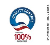 quality control blue ribbon... | Shutterstock .eps vector #587715056