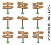 vector set of wooden arrow... | Shutterstock .eps vector #587716442