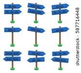 vector set of wooden arrow... | Shutterstock .eps vector #587716448