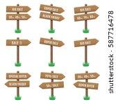 vector set of wooden arrow... | Shutterstock .eps vector #587716478