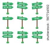 vector set of wooden arrow... | Shutterstock .eps vector #587716502
