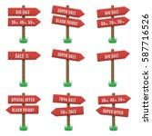 vector set of wooden arrow... | Shutterstock .eps vector #587716526