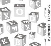 wooden alphabet blocks pattern | Shutterstock .eps vector #587720402