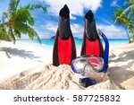 snorkeling mask and fins on the ... | Shutterstock . vector #587725832