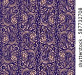 seamless flower paisley lace... | Shutterstock .eps vector #587732708