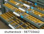 letter case in printing workshop | Shutterstock . vector #587733662