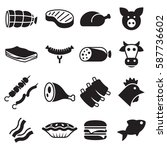 meat icons set | Shutterstock .eps vector #587736602