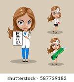 woman doctor or nurse in a... | Shutterstock .eps vector #587739182
