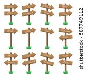 vector set of wooden arrow... | Shutterstock .eps vector #587749112