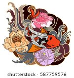 hand drawn koi fish tattoo | Shutterstock .eps vector #587759576
