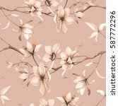 Stock vector seamless floral pattern with magnolies in watercolor style 587772296