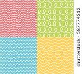 hand drawn seamless pattern set.... | Shutterstock .eps vector #587774312