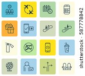 set of 16 travel icons.... | Shutterstock . vector #587778842