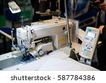 sewing machine close up ... | Shutterstock . vector #587784386