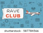 """airplane with banner """"rave club""""...   Shutterstock .eps vector #587784566"""