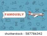 """airplane with banner """"famously"""" ...   Shutterstock .eps vector #587786342"""