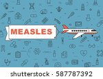 """airplane with banner """"measles""""...   Shutterstock .eps vector #587787392"""
