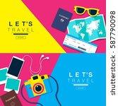 let's travel  banner layout ... | Shutterstock .eps vector #587790098