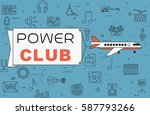 """airplane with banner """"power...   Shutterstock .eps vector #587793266"""