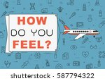 """airplane with banner """"how do...   Shutterstock .eps vector #587794322"""