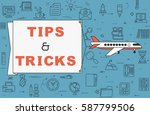 """airplane with banner """"tips  ...   Shutterstock .eps vector #587799506"""