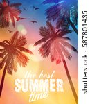 summer beach illustration.... | Shutterstock .eps vector #587801435