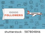 """airplane with banner """"100000...   Shutterstock .eps vector #587804846"""