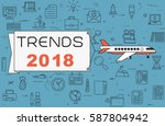 """airplane with banner """"trends...   Shutterstock .eps vector #587804942"""