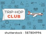 """airplane with banner """"trip hop...   Shutterstock .eps vector #587804996"""