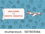 """airplane with banner """"welcome...   Shutterstock .eps vector #587805086"""