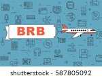 """airplane with banner """"be right...   Shutterstock .eps vector #587805092"""