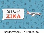 """airplane with banner """"stop zika""""...   Shutterstock .eps vector #587805152"""
