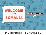 """airplane with banner """"welcome...   Shutterstock .eps vector #587806562"""
