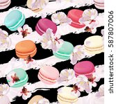 realistic macaroons colorful... | Shutterstock .eps vector #587807006