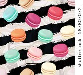 realistic macaroons colorful... | Shutterstock .eps vector #587807072