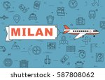 """airplane with banner """"milan"""" on ...   Shutterstock .eps vector #587808062"""