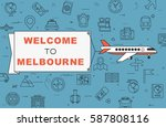 """airplane with banner """"welcome...   Shutterstock .eps vector #587808116"""