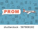 """airplane with banner """"prom"""" on...   Shutterstock .eps vector #587808182"""
