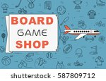 """airplane with banner """"board...   Shutterstock .eps vector #587809712"""