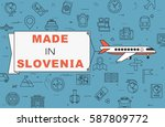 """airplane with banner """"made in...   Shutterstock .eps vector #587809772"""