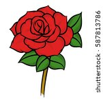 flower rose  red buds and green ... | Shutterstock .eps vector #587813786