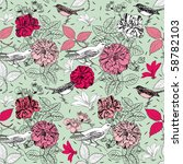 seamless pattern with bird and... | Shutterstock .eps vector #58782103