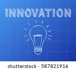 hand drawn innovation sign and... | Shutterstock . vector #587821916