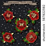 vector roses set traditional... | Shutterstock .eps vector #587822582
